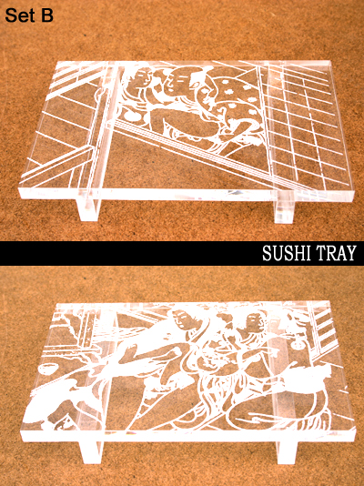 Japanese Antique Erotic Woodblock Print Sushi Tray Set B