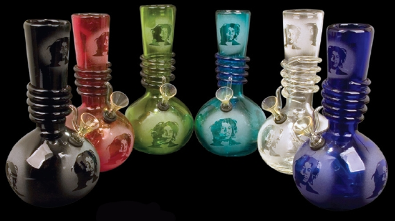 9 Inch Tall Etched Bob Marley Retro Glass Water Pipe (4 Different Colors